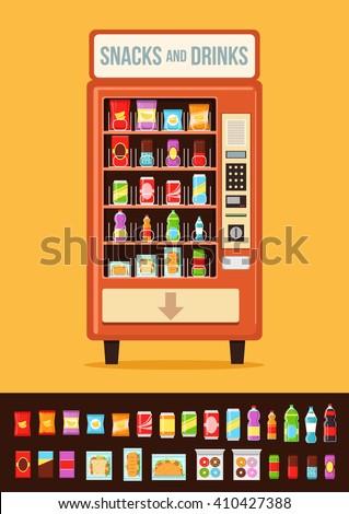 Vending machine with food. Vector flat cartoon illustration  - stock vector
