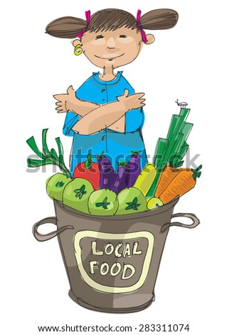 vendor of locally grown produce - cartoon - stock vector