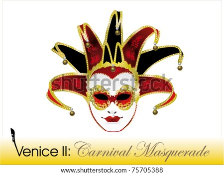 Venetian carnival mask, joker - stock vector