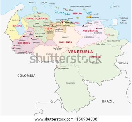 venezuela administrative map - stock vector