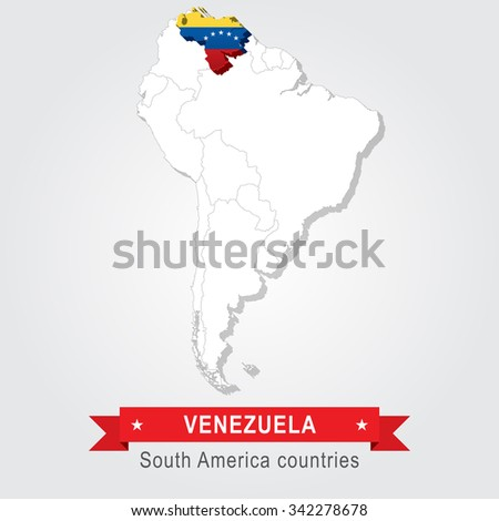 Venezuela. All the countries of South America. Flag version.