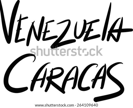 Venezuela, Caracas, hand-lettered Country and Capital, handmade calligraphy, vector