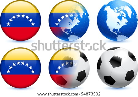 Venezuela Flag Button with Global Soccer Event Original Illustration - stock vector