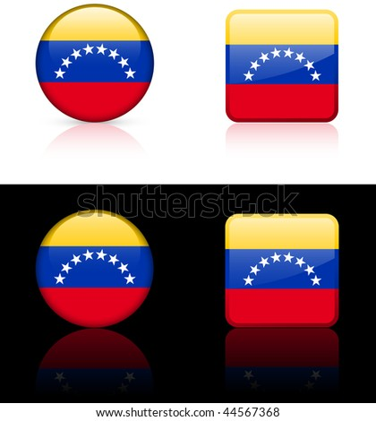 Venezuela Flag Buttons on White and Black Background Original Vector Illustration AI8 Compatible - stock vector