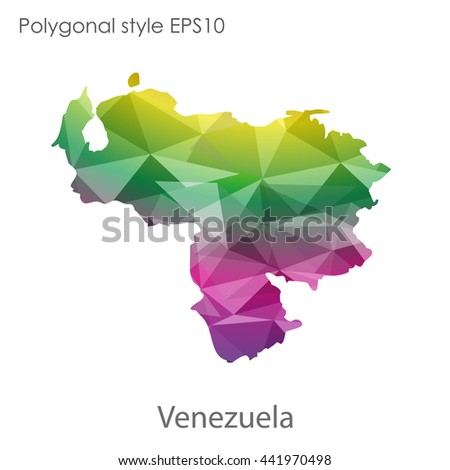 Venezuela map in geometric polygonal style.Abstract gems triangle,modern design background.Vector illustration EPS10.