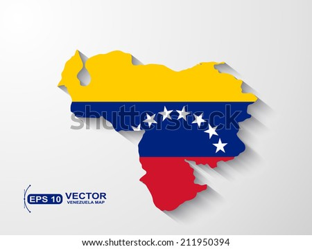 Venezuela  map with shadow effect - stock vector