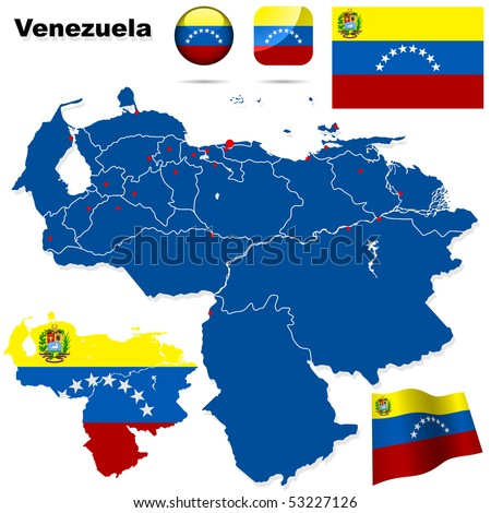 Venezuela vector set. Detailed country shape with region borders, flags and icons isolated on white background. - stock vector