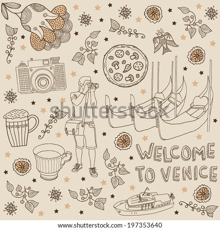 Venice. Background Welcome to Venice - stock vector