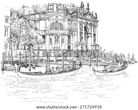 Venice - Cathedral of Santa Maria della Salute. The gondolier floats on a gondola with tourists. Vector black & white sketch - stock vector