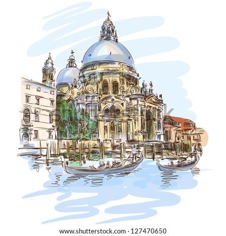 Venice - Cathedral of Santa Maria della Salute - vector sketch. Eps10 - stock vector