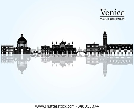 Venice detailed skyline silhouette. Vector illustration - stock vector