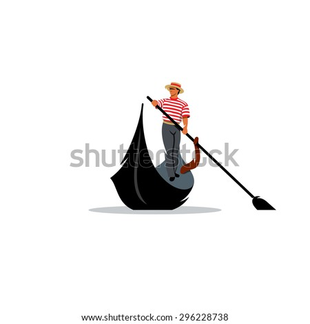Venice gondola, gondolier rowing oar sign. Vector Illustration. Branding Identity Corporate logo design template Isolated on a white background - stock vector