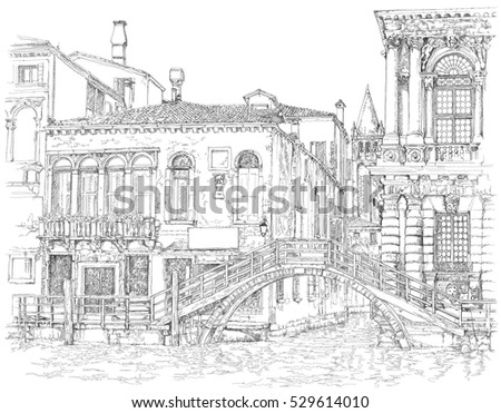 Venice - Grand Canal. Ancient building & bridge. Vector black & white drawing