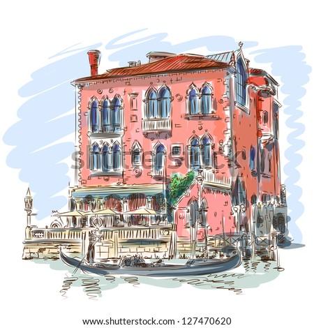 Venice - Grand Canal. Ancient building & gondola. Vector sketch. Eps10 - stock vector