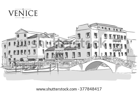 Venice houses. Vector drawing freehand vintage illustration