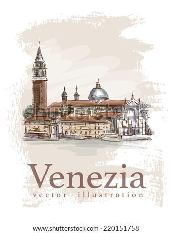Venice - Island of San Giorgio Maggiore. Vector drawing - stock vector