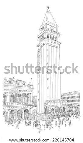 Venice - Piazza San Marco and Kampanila. View from the Doge's Palace. Vector drawing - stock vector