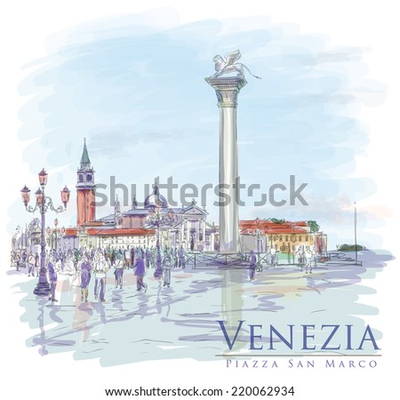 Venice. Piazza San Marco. The view of the island of San Giorgio Maggiore. Vector drawing. Eps10 - stock vector