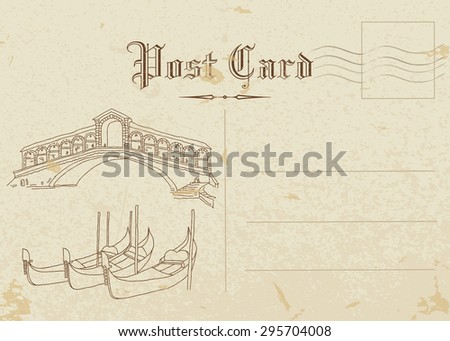 venice. post card  - stock vector
