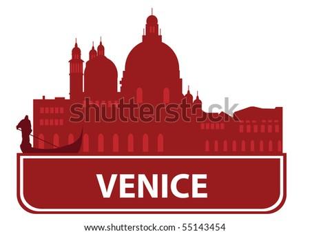 Venice skyline - stock vector