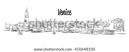Venice Skyline, Italy, Hand drawn Vector Sketch, Outline Silhouette  - stock vector
