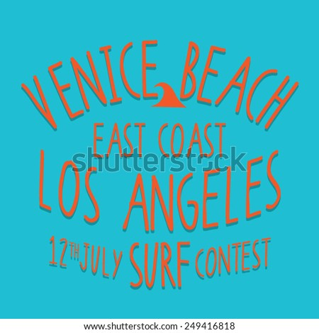 Venice surf typography, t-shirt graphics, vectors - stock vector