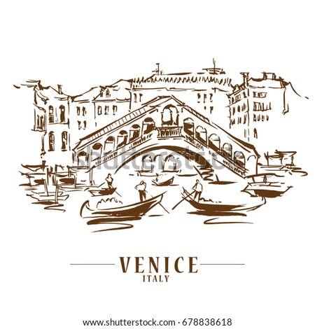 Venice vector illustration made in sketchy style.