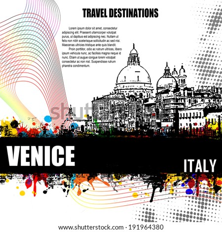 Venice, vintage travel destination grunge poster with colored splash and space for your text, vector illustration - stock vector