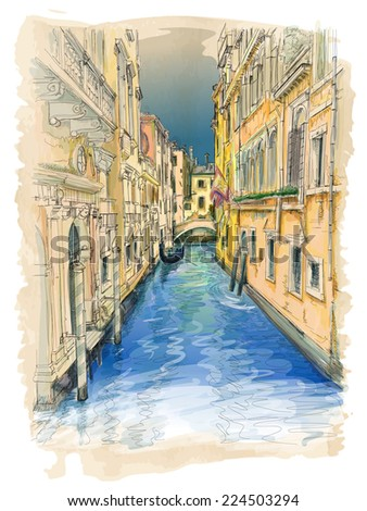 Venice - water channel, old buildings & gondola away. Vector drawing - stock vector