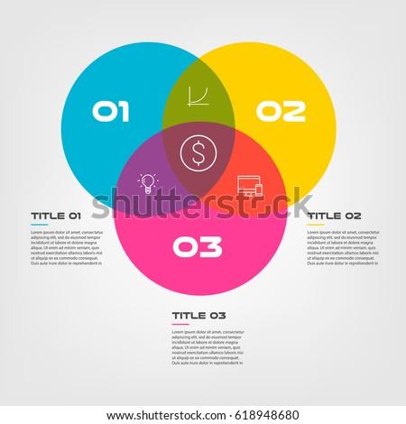 Venn Diagram Infographics Three Circle Design Stock Vector Royalty
