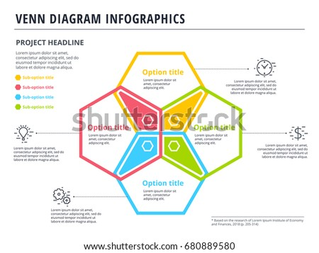 Venn diagram 4 circles infographics template stock vector venn diagram with 4 circles infographics template design vector overlapping shapes for set or logic ccuart Image collections