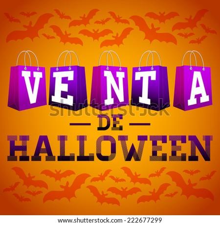 Venta De Halloween Halloween Sale Spanish Stock Vector 222677299 ...