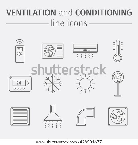Ventilation and conditioning. Climate control. Thin line icon set. Vector illustration.
