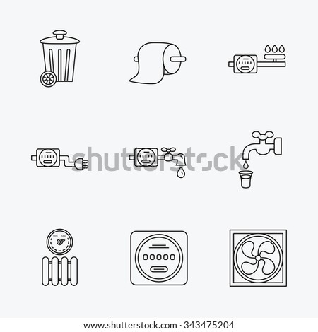 Ventilation, radiator and water counter icons. Toiler paper, gas and electricity counters linear signs. Trash icon. Linear black icons on white background. - stock vector