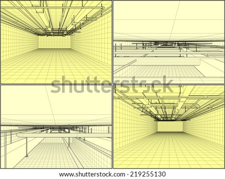 Ventilation System On The Ceiling Vector 01 - stock vector