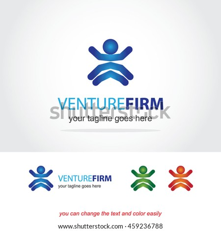 venture firm, abstract vector logo design template icon of company identity symbol concept for financial service, insurance, banking, leasing or any money business