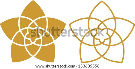 Venus Flower Pentagram, Golden Ratio, Orbits: Venus Earth around the Sun - stock vector