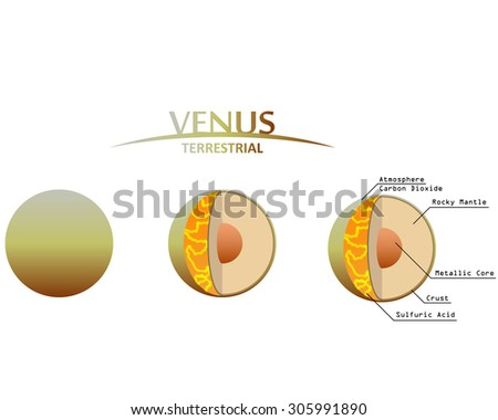 Venus Layers Clip Art with Info Graphics Terrestrial Planet - stock vector