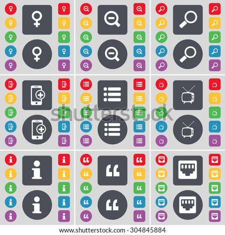 Venus symbol, Magnifying glass, Smartphone, List, Retro TV, Information, Quotation mark, LAN socket icon symbol. A large set of flat, colored buttons for your design. Vector illustration - stock vector
