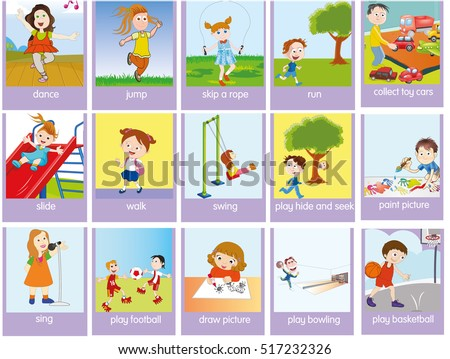 Verbs Action Pictures Colorful Cartoon Stock Vector