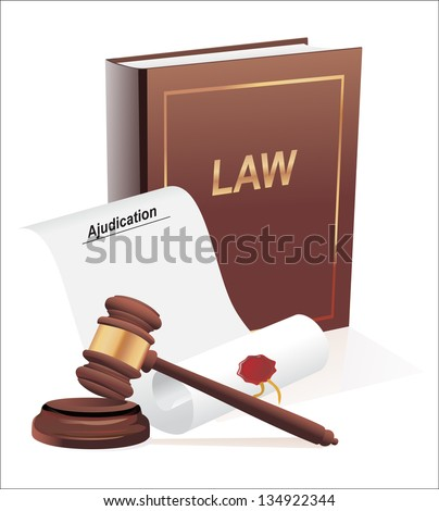 verdict, gavel and  law book illustration design over a white background