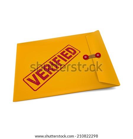 verified stamp on manila envelope isolated on white - stock vector