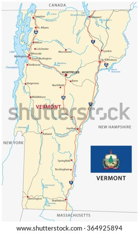 vermont road map with flag