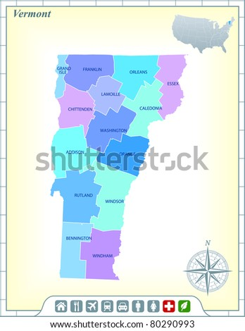 Vermont State Map with Community Assistance and Activates Icons Original Illustration - stock vector