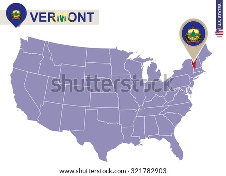 Vermont State On Usa Map Vermont Stock Vector 321782903 Shutterstock