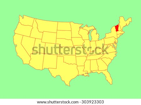 Vermont State Usa Vector Map Isolated Stock Vector 303923303