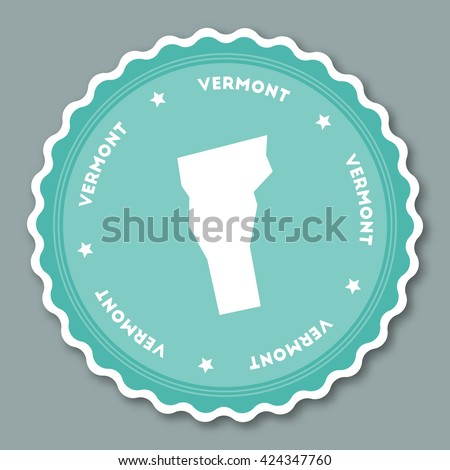 Vermont Vector Sticker Hipster Round Rubber Stock Vector - Us state sticker map