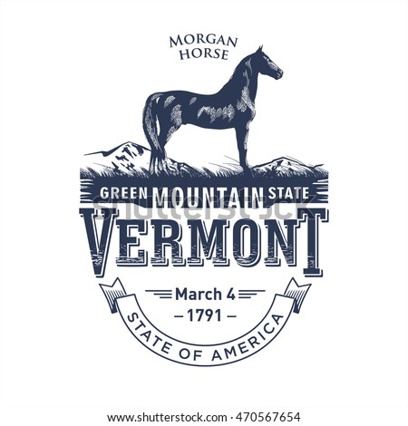 Vermont, stylized emblem of the state of America, Morgan horse, blue color