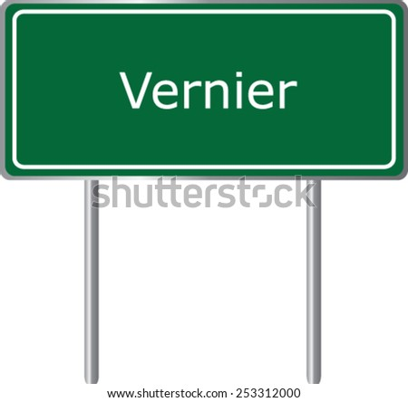 Vernier,  Switzerland, road sign green vector illustration, road table - stock vector