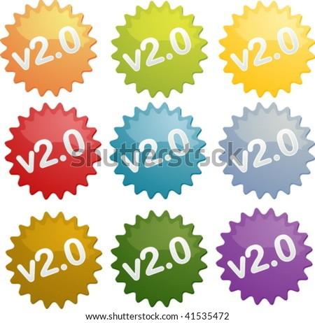 Version 2 seal illustration symbol - stock vector